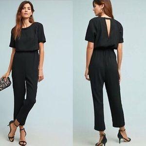 Anthropologie Cartonnier Black Textured Jumpsuit S